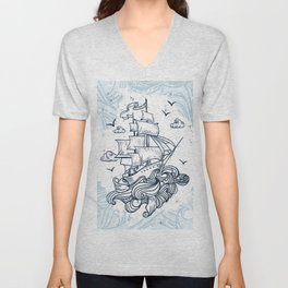 Hand drawn boat with waves background Unisex V-Neck
