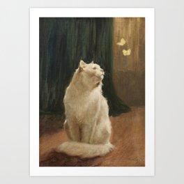 White Cat and Two Brimstone Butterflies by Arthur Heyer Art Print