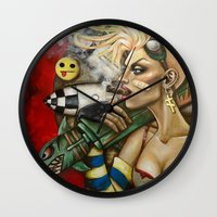 tank girl Wall Clocks featuring Tank Girl Nouveau by Megan Mars
