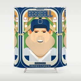 Baseball Blue Pinstripes - Rhubarb Pitchbatter - Josh version Shower Curtain
