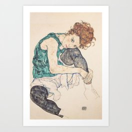SEATED WOMAN WITH BENT KNEE - EGON SCHIELE Art Print