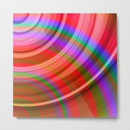Fluttering curved semicircles with a crisp ruby accent and all the colors of the rainbow. Metal Print