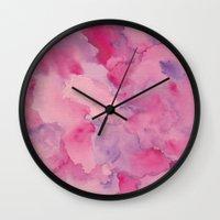 beth hoeckel Wall Clocks featuring Beth Rose Watercolor by Em Beck