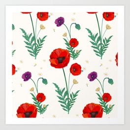 poppies blossom Art Print