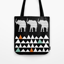 Tribal Elephants, Aztec Andes Pattern Tote Bag
