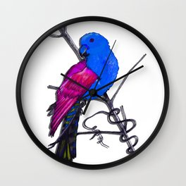 One King Parrot - blue Wall Clock