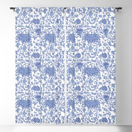Chinoiserie Vines in Delft Blue + White Blackout Curtain