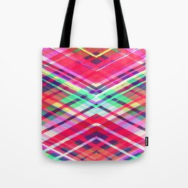 Modern Pink Tribal Plaid Tote Bag