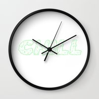 chill Wall Clocks featuring Chill  by kreepyhollow