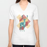 origami V-neck T-shirts featuring Origami Deer by Minette Wasserman