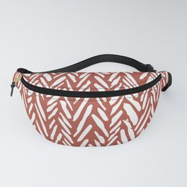 Bold contrast herringbone stripe pattern in rusty red Fanny Pack