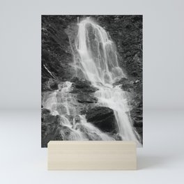 Waterfall, black and white photo Mini Art Print