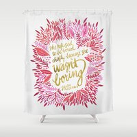 fitzgerald Shower Curtains featuring Zelda Fitzgerald – Pink on White by Cat Coquillette