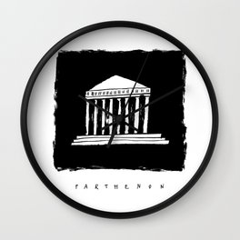 Parthenon in ink Wall Clock
