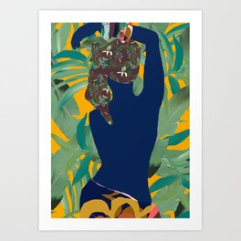 Jungle Pop! Blue Bather with Palms Art Print