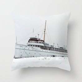 SS Keewatin in Winter White Throw Pillow