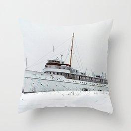 SS Keewatin in Winter White Throw Pillow