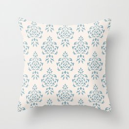 Crest Damask Repeat Pattern Blue on Cream Throw Pillow