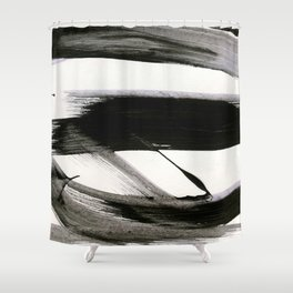 Brushstroke 9: a bold, minimal, black and white abstract piece Shower Curtain