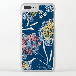 Blue, flower pattern Clear iPhone Case