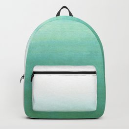 Modern hand painted green teal aqua watercolor ombre motif Backpack