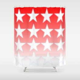 Red and White Stars, Faded Stars, Patriotic Shower Curtain