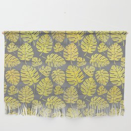 Leaves in Yellow and Grey Pattern Wall Hanging