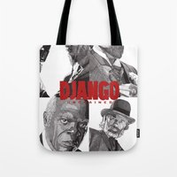django Tote Bags featuring Django Unchained by Rik Reimert