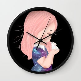 Melancholia - Galaxy Little Girl with Bunny Wall Clock