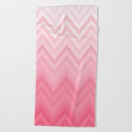 Fading Pink Chevron Beach Towel