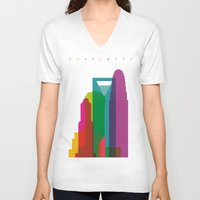 fargo V-neck T-shirts featuring Shapes of Charlotte accurate to scale by Glen Gould