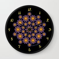 sun and moon Wall Clocks featuring Sun, Moon and Stars by artsytoocreations