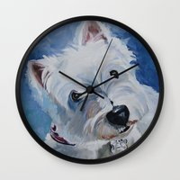 westie Wall Clocks featuring Westie Named Tavin by Karren Garces Pet Art