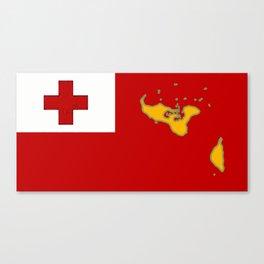 Tonga Flag with Tongan Map Canvas Print