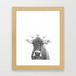 Cow black and white animal portrait Framed Art Print