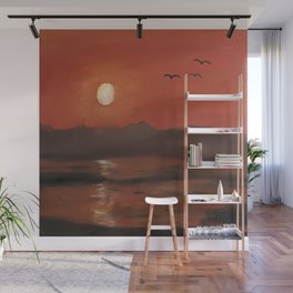Sunset, romantic landscape, oil painting by Luna Smith, Luart Gallery Wall Mural