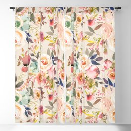 Hand painted ivory pink brown watercolor country floral Blackout Curtain