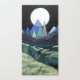 Full Moon Mountains Canvas Print