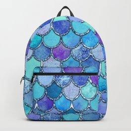 Colorful Blues Mermaid Scales Backpack