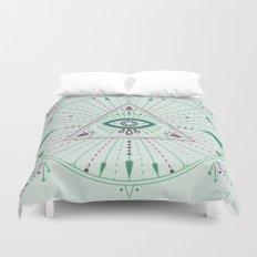 Evil Eye Mandala – Mint Duvet Cover