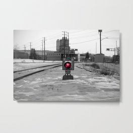Train Track Signal Light Metal Print
