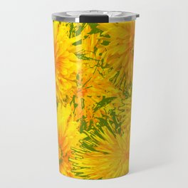 ABSTRACTED MOSS GREEN  FIRST SPRING YELLOW DANDELIONS Travel Mug