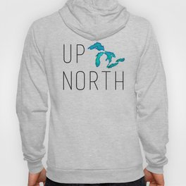 UP NORTH with watercolor great lakes Hoody