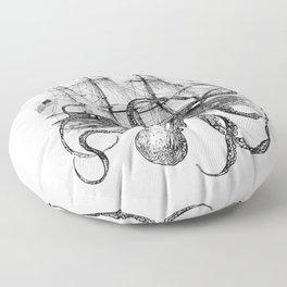 Octopus Attacks Ship on White Background Floor Pillow