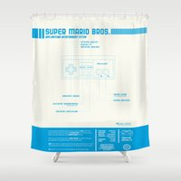 mario bros Shower Curtains featuring Diagame : Super Mario Bros. '85 by Kody Christian
