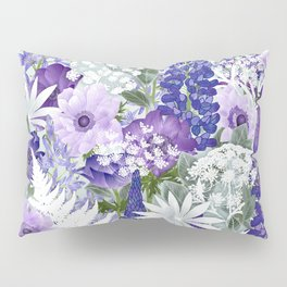 Daydream in Blue - A Floral Art Print of a Lupin, Camassia and Anemone Flower Garden Pillow Sham