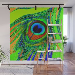 CHARTREUSE GREEN PEACOCK EYE FEATHER DESIGN Wall Mural