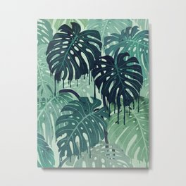Monstera Melt (in Green) Metal Print