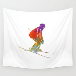 Woman skier skiing jumping 02 in watercolor Wall Tapestry