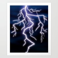 lightning Art Prints featuring lightning by Li-Bro
